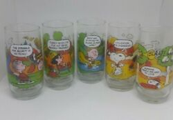 Complete Set Of 5 Vintage Mcdonalds Camp Snoopy Collector Glasses Peanuts