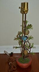 Rare Sold Out Anthropologie Bird Tree Branch Pinecones Rustic Desk Table Lamp