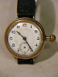 Antique Officers Trench Watch 9ct Gold