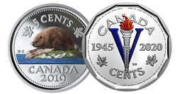 🇨🇦 Rare Canada Nickels 5-cent Coins Color Silver Victory And Beaver 2019 2020