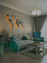 World Wooden Map On The Wall World Map Made Of Wood With Lights Decor Room