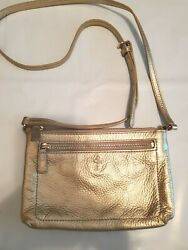 COLE HAAN CROSSBODY PURSE Gold Pebbled Leather Adjustable Strap Length Lined $39.00