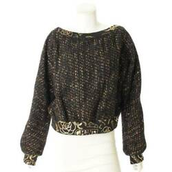 Authentic 19a Tweed Knit Sweater P61829 Black Gold Size 44 Used Grade S