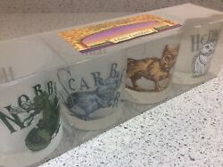 Vintage Harry Potter Glass Tumblers Hedwig, Scabbers, Norbert And Crookshanks New