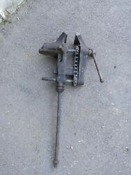 Old Vintage Antique 1913 Chain Driven Post Vise 5 Jaws Black Smith 3