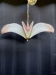 Vintage Art Deco Brass Slip Shade Murano Palm Frond Feather Chandelier Italy P