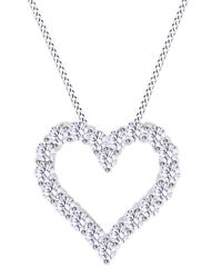 Round Shape White Natural Diamond Heart Pendant 14k Solid Gold 0.70 Cttw