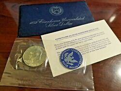 🦅 1972 Eisenhower Uncirculated Silver Dollar 💰 40 Silver W/blue Cover+inserts