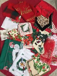 Lot Of Vintage Christmas Linens Tablecloths Runners Doilies Placemats Aprons