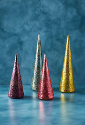 Set 4 Anthropologie Glitterville Dewy Stubbled Glass Trees Cones Green Pink