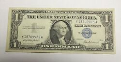 1957 One Dollar Bill Silver Certificate Average Circulated Blue Seal