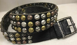 Affliction Mens Black Leather Belt Metal Studs Studded Small Size 34 Never Used
