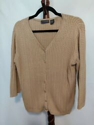 Relativity Womens Size M Cardigan Sweater Brown 3/4 Sleeves V-neck Button Up