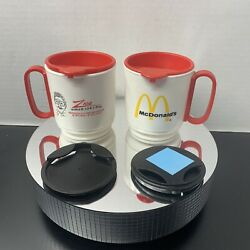 2 Vintage Mcdonalds Whirley Travel Coffee Mug Cup With Lid And Base Holder