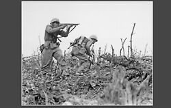 Two Marines 2nd Battalion During The Battle Of Okinawa Wwii Ww2 8x10 Photo