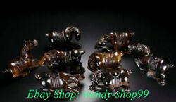 5 Oid Natural Hetian Jade Nephrite Carved Feng Shui 8 Horse Success Statue