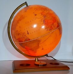 Crams Antique Lighted World Globe On Stand 12