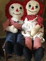 Large 36 Vintage Hand Made Raggedy Ann And Andy Doll
