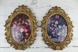 2 Large Ornate Oval Picture 10x13 Vintage Bubble Glass Frames From Italy Antique