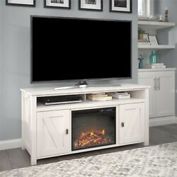 Farmhouse Electric Fireplace Tv Console Tvs Up To 60 Entertainment Center Ivory
