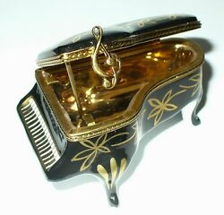 Limoges France Box - Black Grand Piano And Gold Flowers -music Book- Pierre Arquie