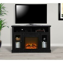 Electric Chicago Fireplace Black Tv Console Tvs Up To 50 Entertainment Center