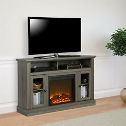 Electric Chicago Fireplace Brown Tv Console Tvs To 50 Entertainment Center