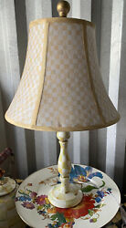 Mackenzie Childs Parchment Check Candlestick Lamp With Shade