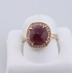 Estate Sliced Ruby And Diamonds Cocktail Ring 14k Rose Gold By Estate Expert