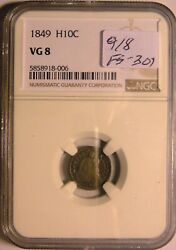1849 Half Dime Fs-301 9/8 Also Known As 9/6 Ngc Vg-8 17