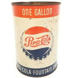 Vintage Mid-century Pepsi Cola One Gallon Fountain Syrup Metal Can Canco