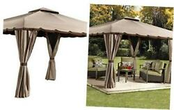 Roma Hardtop Gazebo Outdoor Sun Shelter Beige 10and039 X 12and039