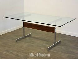 Rosewood And Chrome Mid Century Modern Dining Table