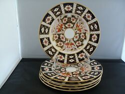 Royal Crown Derby Traditional Imari 2451 Set Of 6 Dinner Plates 10 1/2