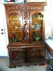 French Antique Renaissance Carved Sideboard Gothic China Cabinet Bookcase
