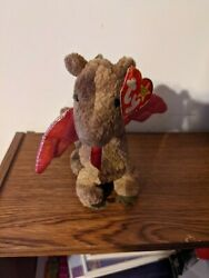 Scorch The Red-winged Dragon Ty Beanie Baby 1998 Original Rare.holographic Wings