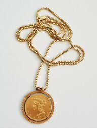 1903 Us 10 Gold Liberty Head Coin In Bezel And 925 G.p. Sterling Necklace Non