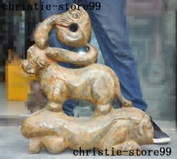 24china Chinese Old Jade Hand-carved Pig Dragon Climb People Woman Beast Statue