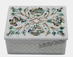 4 Inches Marble Trinket Box Abalone Shell Gemstones Inlaid Marble Anklet Box