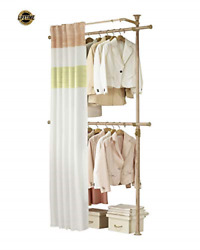 Premium Wood Colored 2 Tier Hanger With Curtain Clothing Rack Closet Organizer