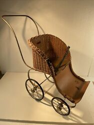 Antique Baby Doll Carriage Stroller Wicker Buggy