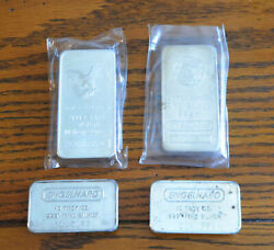 Four Different Engelhard Old Vintage 10 Ounce Silver Bars Eh