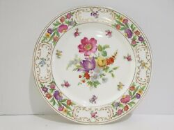 Dresden Sprays Floral And Gold Scrolls Dinner Plate