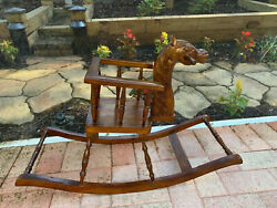 Large Hand Carved Mahogany Children's Baby Toddler Full Size Rocking Horse Chair