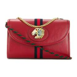 Rajah Tiger Small Shoulder Bag W / Chain Web Red Leather 570145