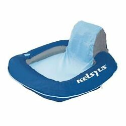 Kelsyus Floating Pool Lounger Inflatable Chair w Cup Holder Blue Open Box