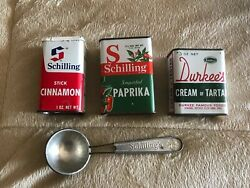 Lot Of 4 Items Vintage Spice Tins Durkee's Schilling Powder Spices Green Red