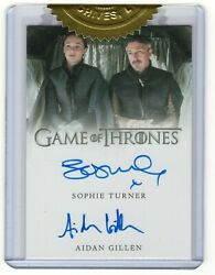 2016 Game Of Thrones Stagione 5 Autografo Sophie Turner And Aidan Gillen