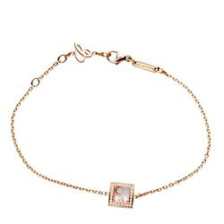 Chopard Happy Curves Square Rose Gold And Diamond Charm Bracelet 859224 New