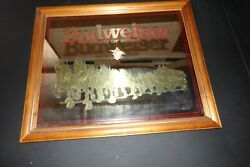 Vintage Budweiser King Of Beers Clydesdale Horses/coach Gold Bar Mirror Mancave